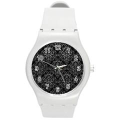 Damask1 Black Marble & Gray Leather Round Plastic Sport Watch (m)