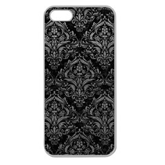 Damask1 Black Marble & Gray Leather Apple Seamless Iphone 5 Case (clear)
