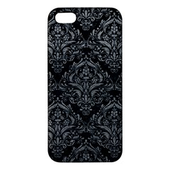 Damask1 Black Marble & Gray Leather Apple Iphone 5 Premium Hardshell Case