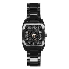 Damask1 Black Marble & Gray Leather Stainless Steel Barrel Watch