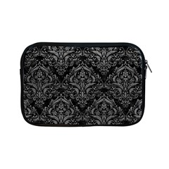 Damask1 Black Marble & Gray Leather Apple Ipad Mini Zipper Cases