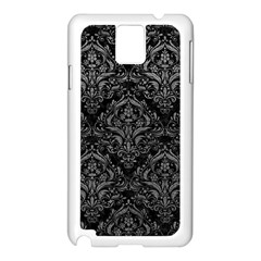 Damask1 Black Marble & Gray Leather Samsung Galaxy Note 3 N9005 Case (white)