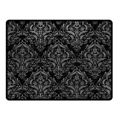 Damask1 Black Marble & Gray Leather Double Sided Fleece Blanket (small)