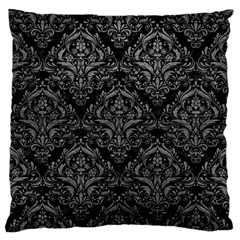Damask1 Black Marble & Gray Leather Standard Flano Cushion Case (two Sides)