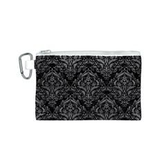 Damask1 Black Marble & Gray Leather Canvas Cosmetic Bag (s)