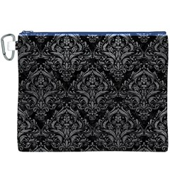 Damask1 Black Marble & Gray Leather Canvas Cosmetic Bag (xxxl)