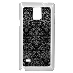 Damask1 Black Marble & Gray Leather Samsung Galaxy Note 4 Case (white)