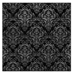 Damask1 Black Marble & Gray Leather Large Satin Scarf (square)