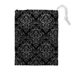 Damask1 Black Marble & Gray Leather Drawstring Pouches (extra Large)
