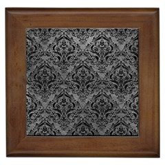 Damask1 Black Marble & Gray Leather (r) Framed Tiles