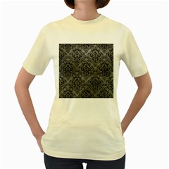 Damask1 Black Marble & Gray Leather (r) Women s Yellow T Shirt