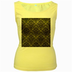 Damask1 Black Marble & Gray Leather (r) Women s Yellow Tank Top