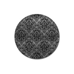 Damask1 Black Marble & Gray Leather (r) Magnet 3  (round)