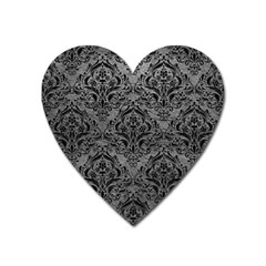 Damask1 Black Marble & Gray Leather (r) Heart Magnet