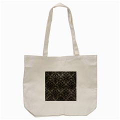 Damask1 Black Marble & Gray Leather (r) Tote Bag (cream)