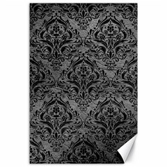 Damask1 Black Marble & Gray Leather (r) Canvas 24  X 36