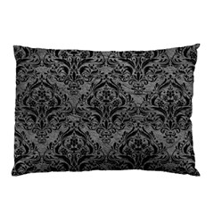 Damask1 Black Marble & Gray Leather (r) Pillow Case