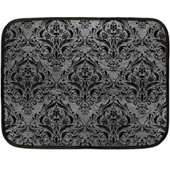 Damask1 Black Marble & Gray Leather (r) Double Sided Fleece Blanket (mini)