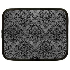 Damask1 Black Marble & Gray Leather (r) Netbook Case (xl)