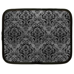Damask1 Black Marble & Gray Leather (r) Netbook Case (xxl)