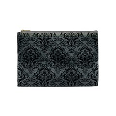 Damask1 Black Marble & Gray Leather (r) Cosmetic Bag (medium)
