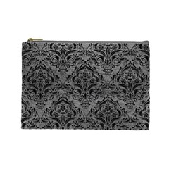 Damask1 Black Marble & Gray Leather (r) Cosmetic Bag (large)