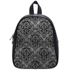 Damask1 Black Marble & Gray Leather (r) School Bag (small)