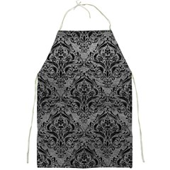 Damask1 Black Marble & Gray Leather (r) Full Print Aprons