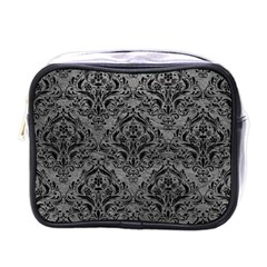 Damask1 Black Marble & Gray Leather (r) Mini Toiletries Bags