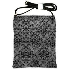 Damask1 Black Marble & Gray Leather (r) Shoulder Sling Bags