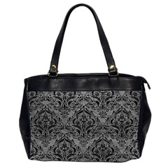 Damask1 Black Marble & Gray Leather (r) Office Handbags (2 Sides)