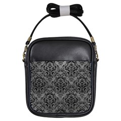 Damask1 Black Marble & Gray Leather (r) Girls Sling Bags