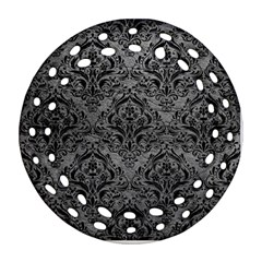 Damask1 Black Marble & Gray Leather (r) Round Filigree Ornament (two Sides)