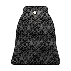 Damask1 Black Marble & Gray Leather (r) Bell Ornament (two Sides)