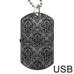 Damask1 Black Marble & Gray Leather (r) Dog Tag Usb Flash (two Sides)