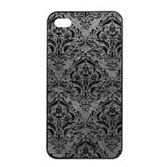 Damask1 Black Marble & Gray Leather (r) Apple Iphone 4/4s Seamless Case (black)