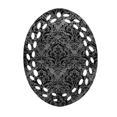 Damask1 Black Marble & Gray Leather (r) Oval Filigree Ornament (two Sides)