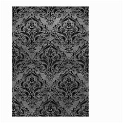 Damask1 Black Marble & Gray Leather (r) Small Garden Flag (two Sides)