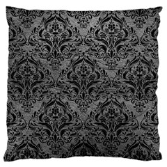 Damask1 Black Marble & Gray Leather (r) Large Cushion Case (two Sides)