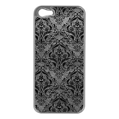 Damask1 Black Marble & Gray Leather (r) Apple Iphone 5 Case (silver)