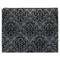 Damask1 Black Marble & Gray Leather (r) Cosmetic Bag (xxxl)