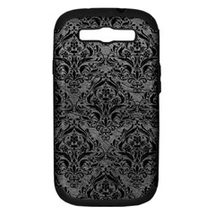 Damask1 Black Marble & Gray Leather (r) Samsung Galaxy S Iii Hardshell Case (pc+silicone)