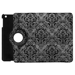 Damask1 Black Marble & Gray Leather (r) Apple Ipad Mini Flip 360 Case