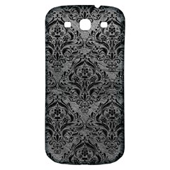Damask1 Black Marble & Gray Leather (r) Samsung Galaxy S3 S Iii Classic Hardshell Back Case