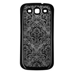 Damask1 Black Marble & Gray Leather (r) Samsung Galaxy S3 Back Case (black)