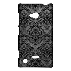 Damask1 Black Marble & Gray Leather (r) Nokia Lumia 720