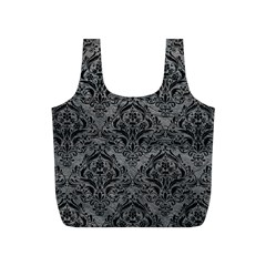 Damask1 Black Marble & Gray Leather (r) Full Print Recycle Bags (s)