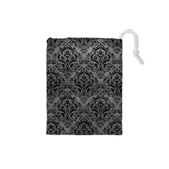 Damask1 Black Marble & Gray Leather (r) Drawstring Pouches (small)