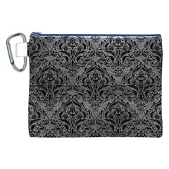 Damask1 Black Marble & Gray Leather (r) Canvas Cosmetic Bag (xxl)
