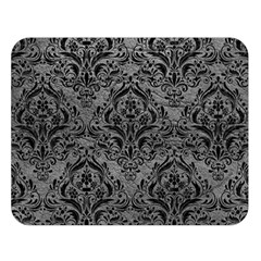 Damask1 Black Marble & Gray Leather (r) Double Sided Flano Blanket (large)